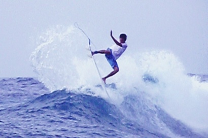 Getting air at Lacerations, Nusa Lembongan