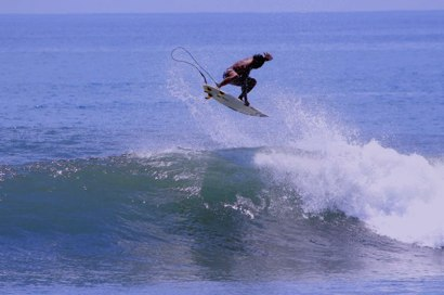 Getting some air at Keramas Beach, Bali