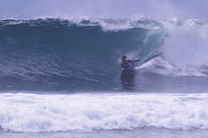 Bodyboarding at Serangan Beach, Bali
