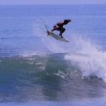 Getting air at Keramas Beach, Bali