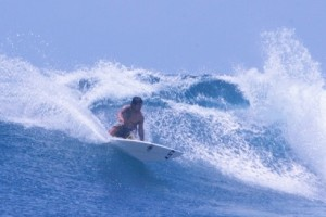Cutting up at Shipwrecks on our One Day Lembongan Surf Charter