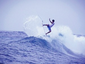 Getting some air at Lacerations on the Two Day Lembongan Surf Tour